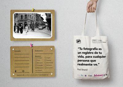 Diseño postal y bolsa de tela - Historypin